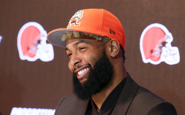 FILE - In this April 1, 2019, file photo, Cleveland Browns' Odell Beckham answers questions during an NFL football news conference in Berea, Ohio. The star wide receiver reported to the teams headquarters Monday and is on the field Tuesday, May 14, 2019, for practice. (AP Photo/Ron Schwane, File)