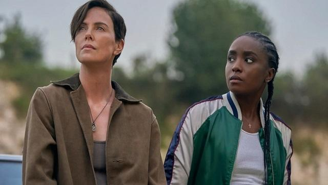 Charlize Theron and Kiki Layne in a still from The Old Guard