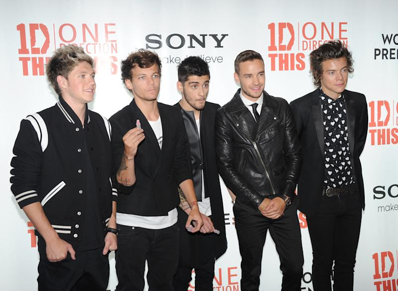 Niall Horan, Louis Tomlinson, Zayn Malik , Liam Payne and Harry Styles attend the UK Premiere of One Direction: This Is Us 3D - VIP Arrivals, on Tuesday August 20, 2013, in London. (Photo by Jon Furniss/Invision/AP Images)