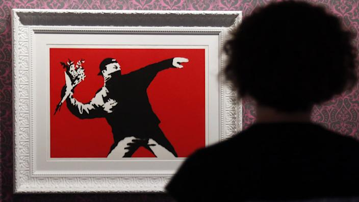 The image has become one of Banksy's most famous works