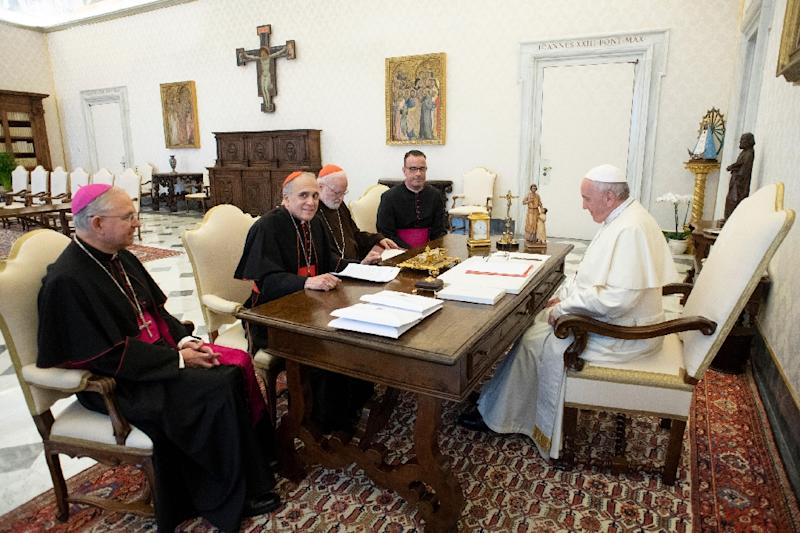 Pope Francis meets with leaders from the US church at the Vatican on Thursday to discuss claims of sexual abuse by clergy (AFP Photo/Handout)