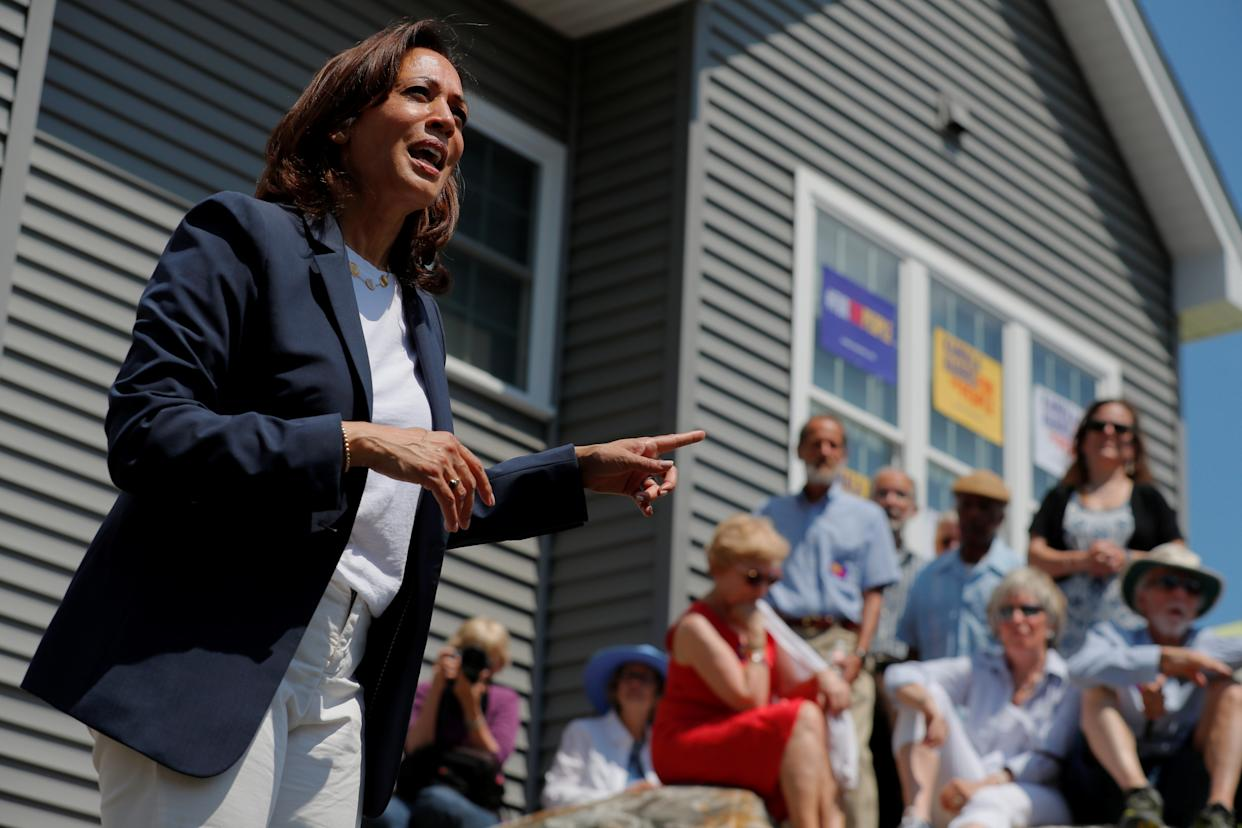Sen. Kamala Harris speaks at a campaign house party in Gilford, N.H. (Photo: Reuters/Brian Snyder)