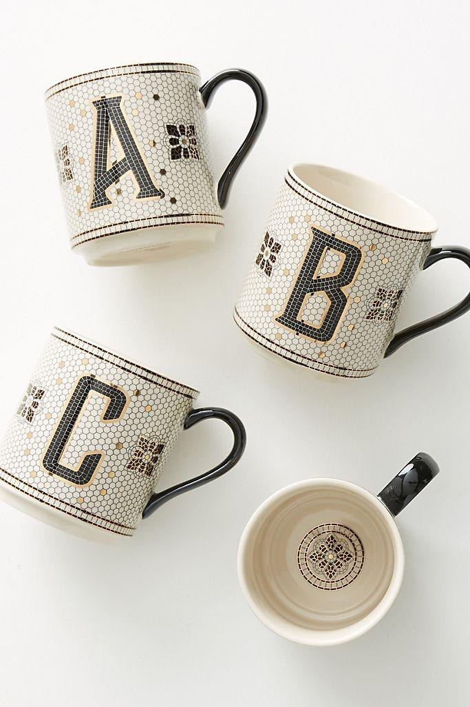 Bistro Tiled Margot Monogram Mug. (Anthopologie)