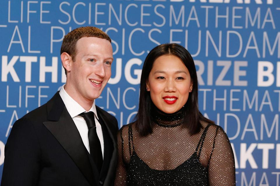 Mr Zuckerberg with his wife Priscilla Chan (Getty Images for Breakthrough Pr)