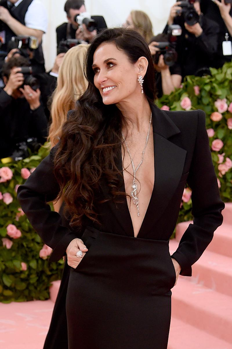 Demi Moore, 56, stuns in plunging black gown at Met Gala 2019