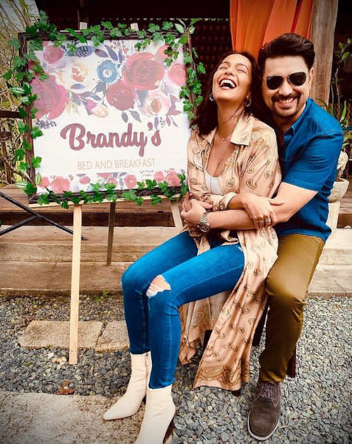 Iza Calzado with co-star Ian Veneracion at the set of 'B&B: The Story of the Battle of Brody & Brandy'
