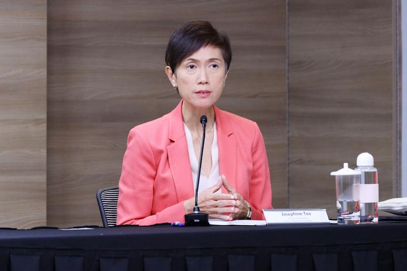 Manpower Minister Josephine Teo at the live virtual taskforce press conference on 21 April, 2020. (PHOTO: MCI)