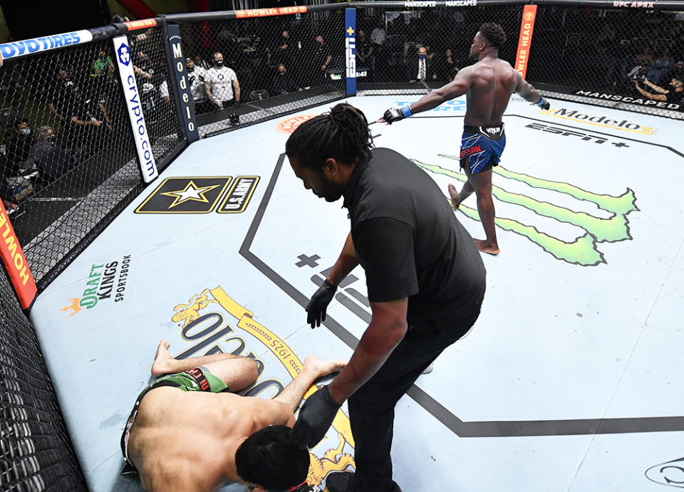 Abdul Razak Alhassan, pictured here celebrating his knockout victory over Alessio Di Chirico.
