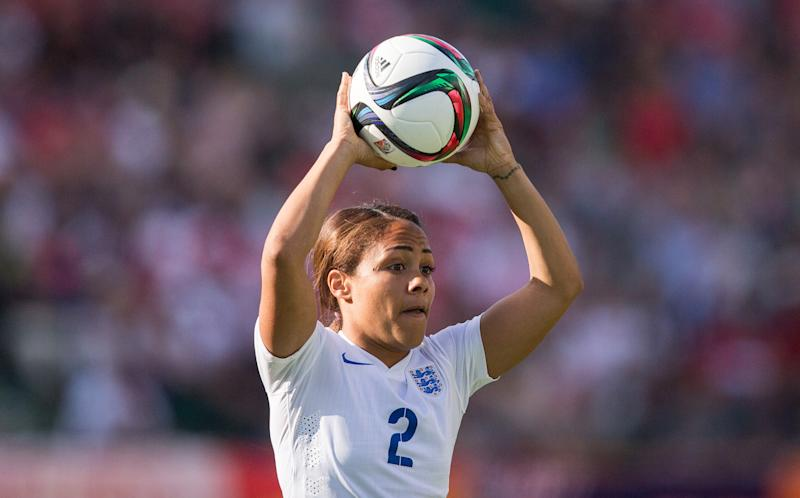 England's Alex Scott prepares for a throw during their semi-final match against Japan in the FIFA Women's World Cup at Commonwealth Stadium in Edmonton, Canada on July 1, 2015. A late own-goal by England defender Laura Bassett put defending champions Japan into the final of the Women's World Cup with a 2-1 win. AFP PHOTO / GEOFF ROBINS (Photo credit should read GEOFF ROBINS/AFP/Getty Images)