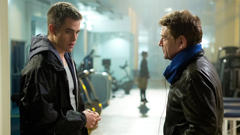 Chris Pine and director Kenneth Branagh on the set of 'Jack Ryan: Shadow Recruit'