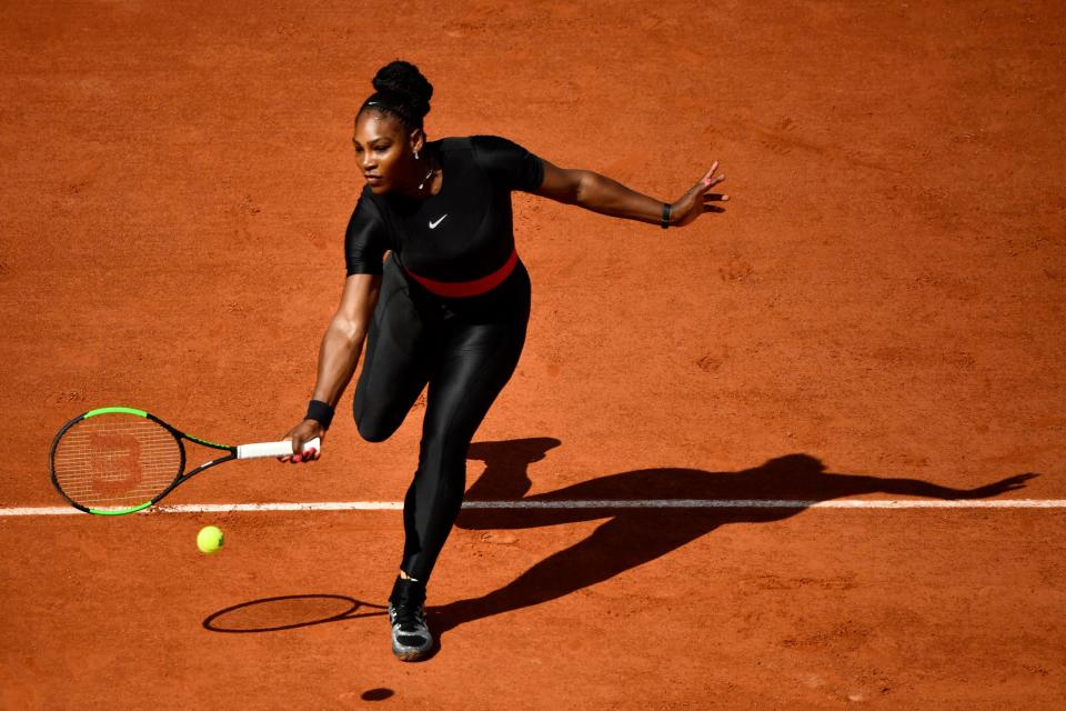 Serena Williams beat Kristyna Pliskova 7-6 (7-4) 6-4 at the French Open yesterday [Photo: Getty]