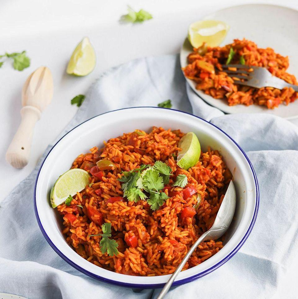 """<p>Spicy rice is 100% top-tier <a href=""""https://www.delish.com/uk/food-news/a31974638/slow-cooker-nandos-peri-peri-chicken-recipe/"""" rel=""""nofollow noopener"""" target=""""_blank"""" data-ylk=""""slk:Nando's"""" class=""""link rapid-noclick-resp"""">Nando's</a> side dish, right? And if you've always wanted to recreate that lightly spiced, fluffy rice from your favourite Portuguese restaurant, try our easy, quick and flavoured packed version!</p><p>Get the <a href=""""https://www.delish.com/uk/cooking/recipes/a37338832/nandos-spicy-rice/"""" rel=""""nofollow noopener"""" target=""""_blank"""" data-ylk=""""slk:Nando's Spicy Rice"""" class=""""link rapid-noclick-resp"""">Nando's Spicy Rice</a> recipe.</p>"""