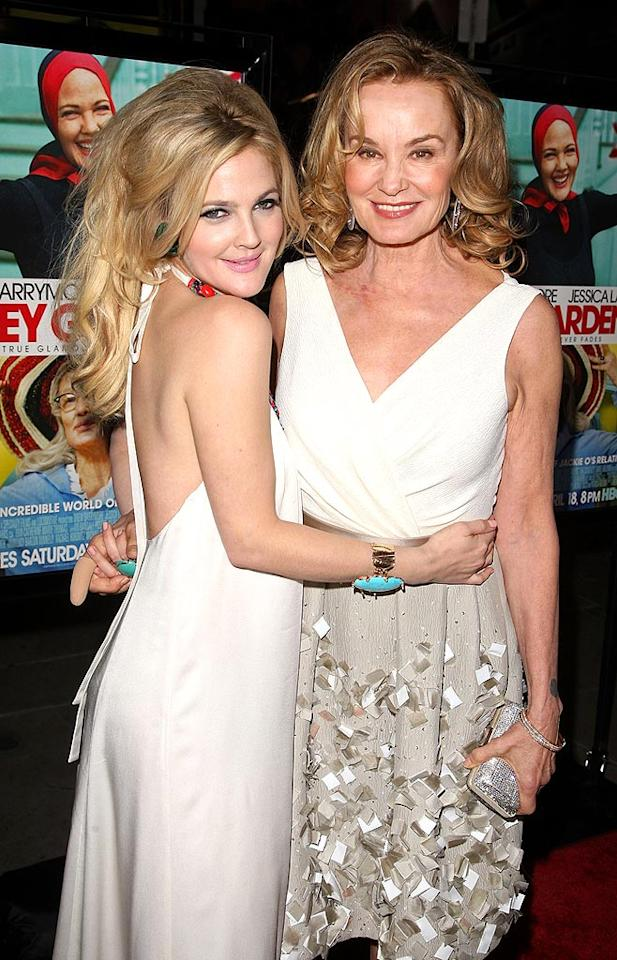 """Drew Barrymore and Jessica Lange hit the red carpet at the world famous Grauman's Chinese Theatre for the premiere of """"Grey Gardens."""" Jason Merritt/<a href=""""http://www.gettyimages.com/"""" target=""""new"""">GettyImages.com</a> - April 16, 2009"""
