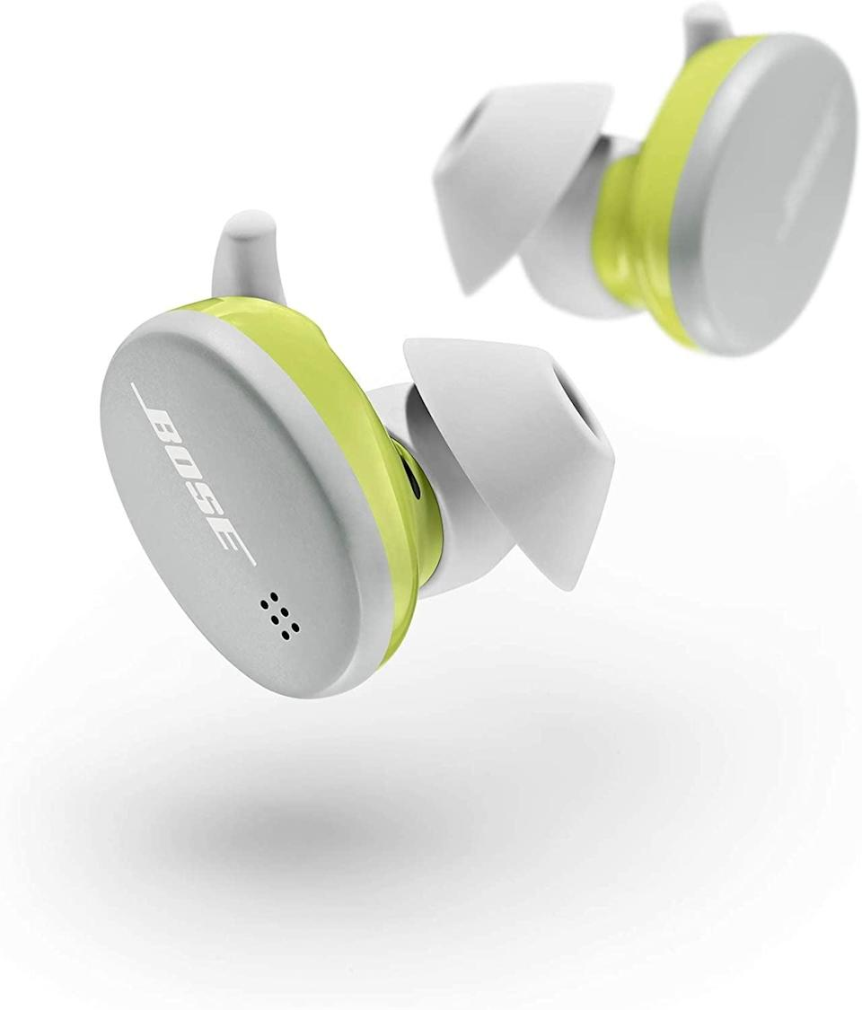 <p>If you have an active lifestyle, the <span>Bose Sport Earbuds</span> ($179) were made just for you! These earbuds are weather and sweat-resistant. Swipe up and down to change the volume and tap to pause and play songs or take calls. They come in glacier white, baltic blue, and triple black.</p>