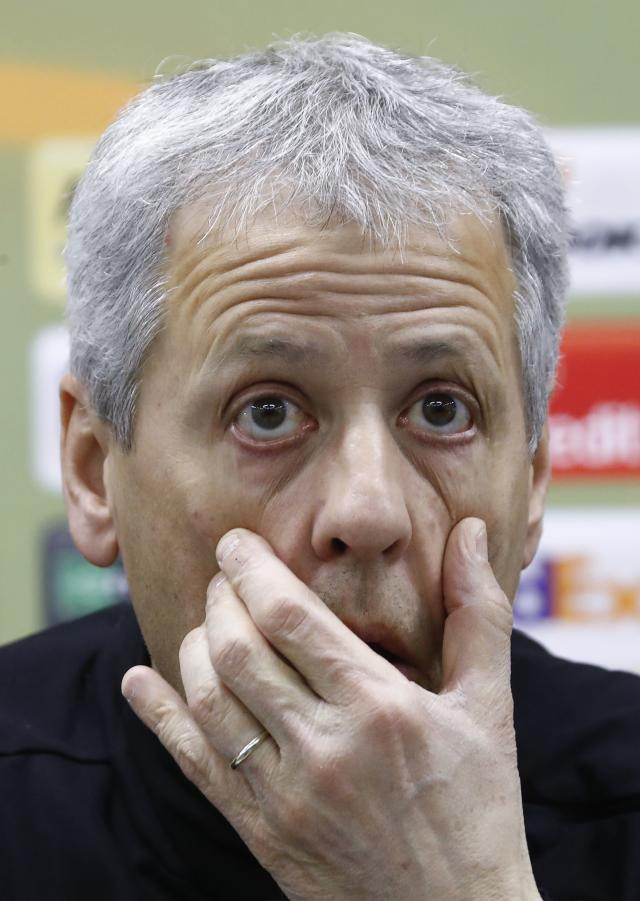 Soccer Football - Europa League - OGC Nice Press Conference - Moscow, Russia - February 21, 2018 - Nice's coach Lucien Favre attends a press conference. REUTERS/Sergei Karpukhin