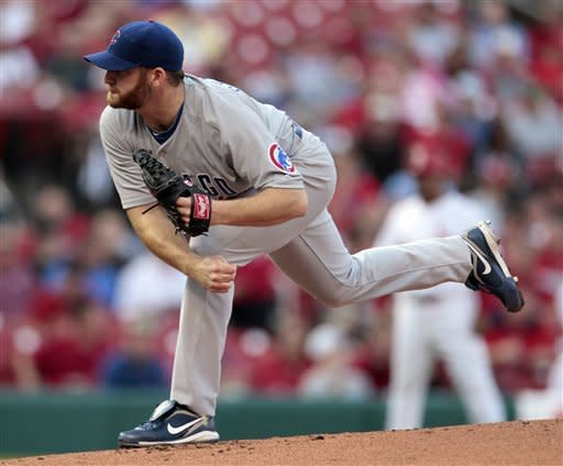 Chicago Cubs starting pitcher Ryan Dempster throws during the first inning of a baseball game against the St. Louis Cardinals Monday, May 14, 2012, in St. Louis. (AP Photo/Jeff Roberson)