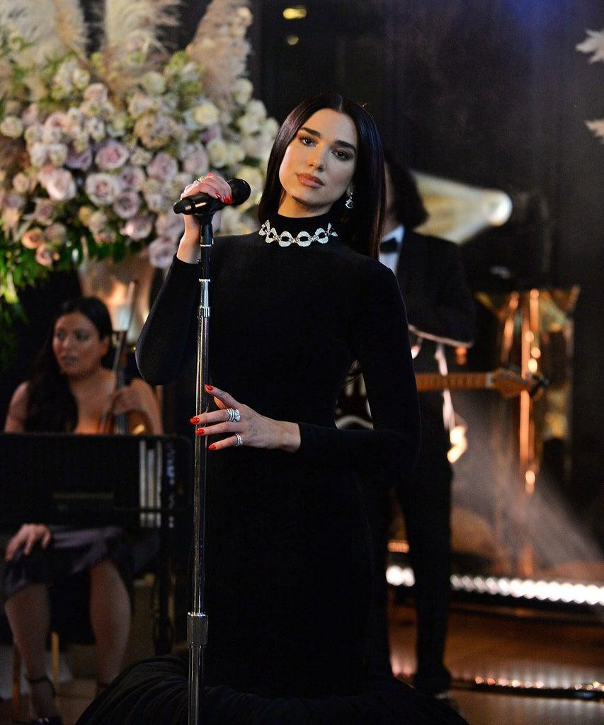 UNSPECIFIED – APRIL 25: In this image released on April 25, Dua Lipa performs during the 29th Annual Elton John AIDS Foundation Academy Awards Viewing Party on April 25, 2021. (Photo by David M. Benett/Getty Images for the Elton John AIDS Foundation)