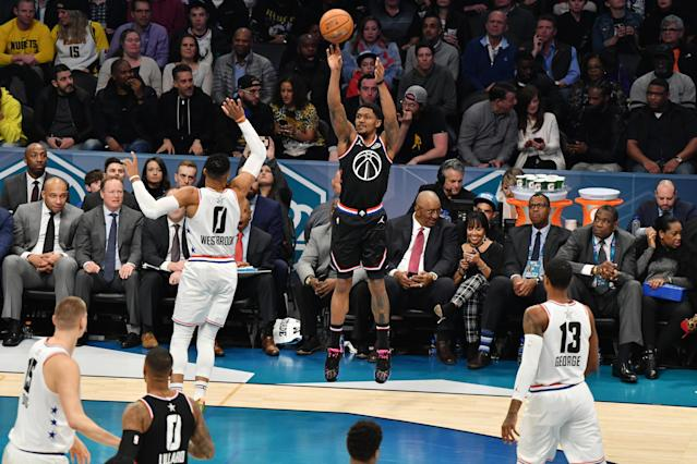 """<a class=""""link rapid-noclick-resp"""" href=""""/nba/players/5009/"""" data-ylk=""""slk:Bradley Beal"""">Bradley Beal</a> said he spent All-Star weekend attempting to recruit players to come join the Wizards this summer. (Jesse D. Garrabrant/Getty Images)"""