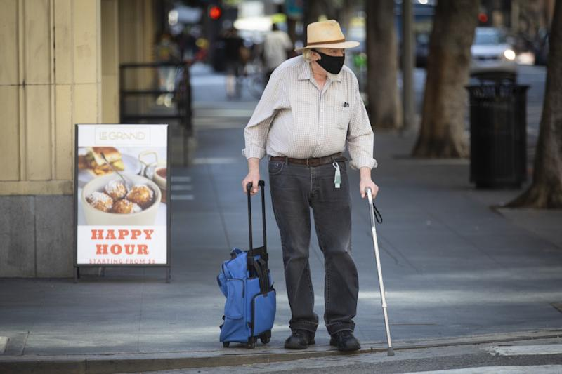 Bob Thatcher, 74, in downtown Los Angeles on Tuesday.