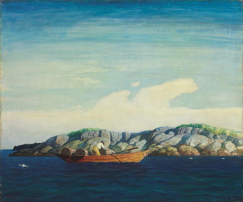 "This image provided by Christie's shows N.C. Wyeth's 1938 ""Norry Seavey Hauling Traps Off Blubber Island,"" an oil on Masonite that is estimated to fetch $300,000-500,000 when it will be sold at auction by Christie's in New York.  The sale on May 23, 2013 includes 13 works by N.C., Andrew and Jamie Wyeth. (AP Photo/Christie's)"