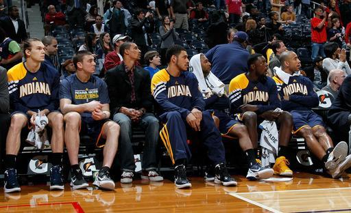 ATLANTA, GA - FEBRUARY 08: The Indiana Pacers bench looks in the final seconds of their 97-87 loss to the Atlanta Hawks at Philips Arena on February 8, 2012 in Atlanta, Georgia. (Photo by Kevin C. Cox/Getty Images)