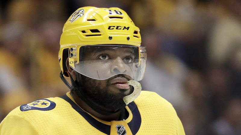 Nashville Predators defenseman P.K. Subban waits for play to resume after the Winnipeg Jets scored during the third period in Game 7 of an NHL hockey second-round playoff series Thursday, May 10, 2018, in Nashville, Tenn. The Jets won 5-1, and the Predators were eliminated from the playoffs. (AP Photo/Mark Humphrey)