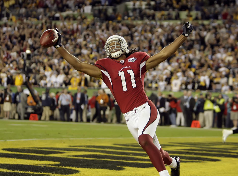 Moments after Larry Fitzgerald scored a go-ahead touchdown in Super Bowl XLIII, TVs in Tucson flickered and began airing a porn video. (Getty Images)