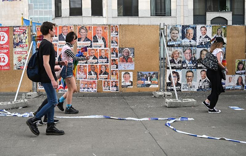 Plenty of electoral posters can be seen in Brussels as Belgium on Sunday holds national, regional and European elections