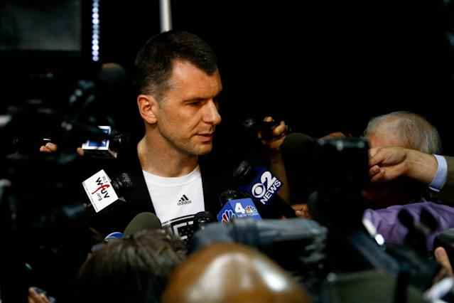Brooklyn Nets owner Mikhail Prokhorov speaks with the media during a July 2013 press conference. (Debby Wong-USA TODAY Sports)