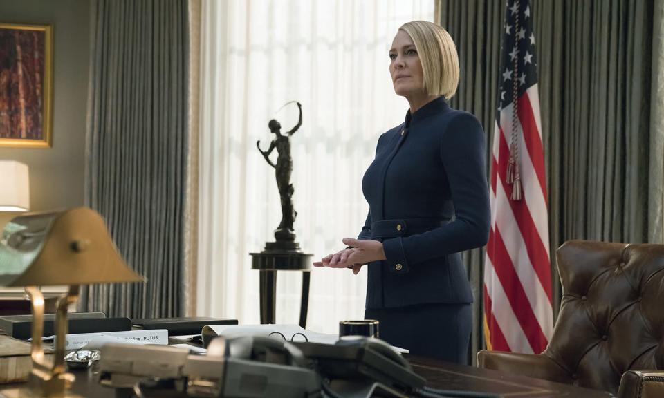 <p>The President is dead, long live the President. Kevin Spacey was sacked after his personal conduct came under scrutiny, with Robin Wright Penn ascending to the Oval Room for the sixth and final season.<br>Photo: Netflix </p>