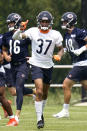 Chicago Bears defensive back Teez Tabor (37) runs on the field during NFL football practice in Lake Forest, Ill., Wednesday, July 28, 2021. (AP Photo/Nam Y. Huh)