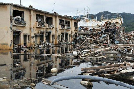 Photo shows the town of Kesennuma in northeast Japan following the devestating earthquake and tsunami which rocked the region. US Vice President Joe Biden is the highest-ranking American official to visit the disaster zone where over 20,000 lost their lives and sparked the ongoing Fukushima nuclear disaster