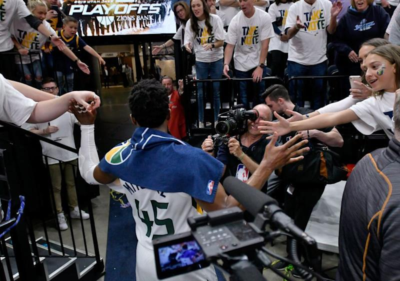 Jazz fans shower Donovan Mitchell with praise after Monday's victory over the Rockets. (Getty Images)
