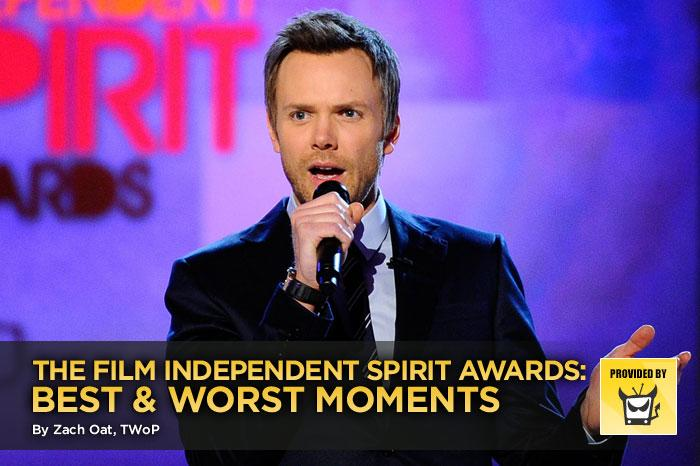 """One day before one of the most disastrous Oscar telecasts in history, the indie movie community gathered in a soggy tent in Santa Monica to hand out the Film Independent Spirit Awards. And although several of the winners were the same, the differences between the two were stark, beginning with the Spirit Awards' brilliant hosting by Joel McHale. Click through this slideshow to see the best and worst moments from our favorite awards show of the weekend. — <a href=""""http://www.televisionwithoutpity.com"""" rel=""""nofollow"""">Television Without Pity</a>"""