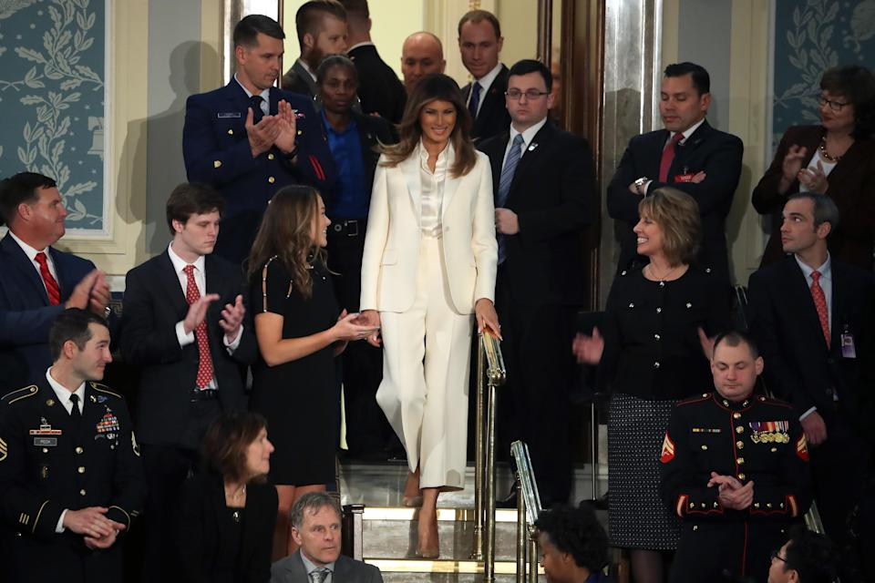 First lady Melania Trump wore white to the State of the Union address in 2018. (Photo: Getty Images)