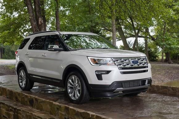 A white 2019 Ford Explorer, a 7-passenger crossover SUV.
