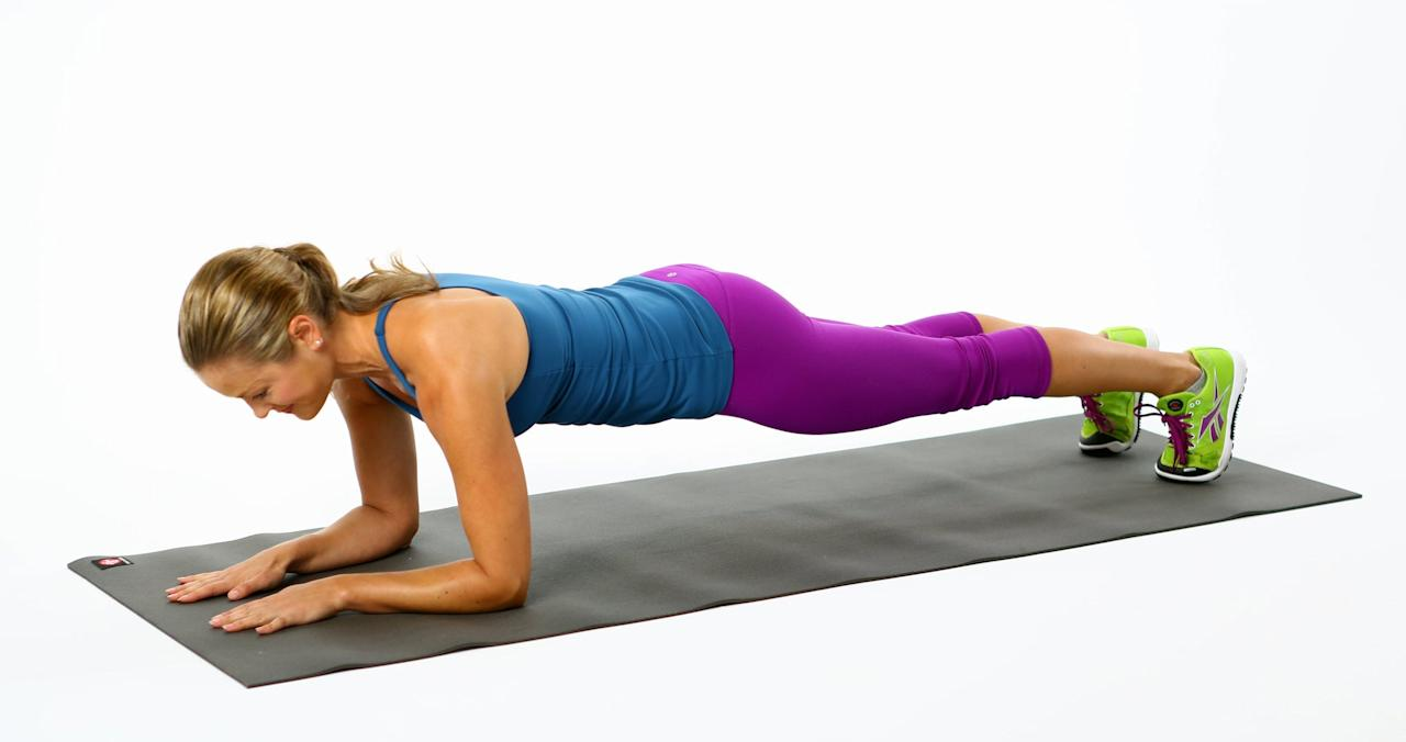 This is a killer move for your core, legs, and upper body. When holding elbow plank, be sure your shoulders are stacked over your elbows and your body is in one straight line.  <ul><li>Start on the floor, resting on your forearms and knees.</li> <li>Step your feet out one at a time, coming into a plank position.</li> <li>Contract your abs to prevent your booty from sticking up or sinking. Your spine should be parallel to the floor, with your abs pulling toward the ceiling.</li> <li>Hold 30 seconds, and work your way up to one minute as you get stronger.</li></ul>