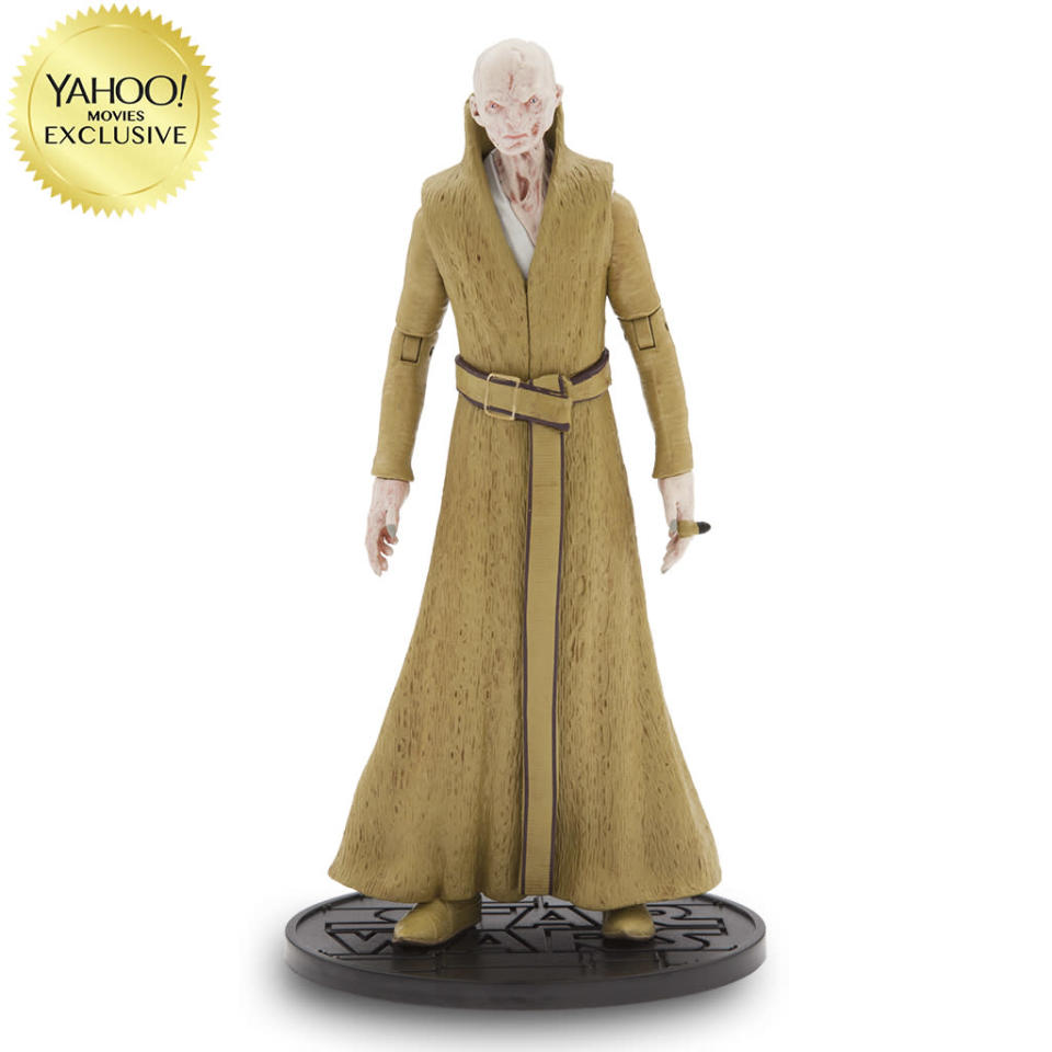 <p>Our best look yet at the deeply scarred First Order overlord, who rocks a flowing golden robe that would make Hef jealous. Available Oct. 31/$26.95/DisneyStore.com (Photo: Disney Store) </p>