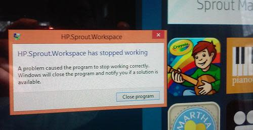 Error message on HP Sprout