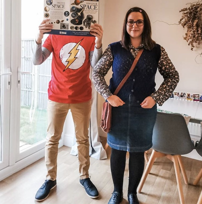 """<p>Bazinga! Can you feel yourself getting smarter? Well if not, you'll definitely look it when you dress as these two geniuses. The best part is, this DIY <em>Big Bang Theory</em> costume is pretty easy to recreate. </p><p><a class=""""link rapid-noclick-resp"""" href=""""https://www.amazon.com/DC-Comics-Flash-Sleeve-T-Shirt/dp/B008RYP11E?ref_=fsclp_pl_dp_7&tag=syn-yahoo-20&ascsubtag=%5Bartid%7C10072.g.27868801%5Bsrc%7Cyahoo-us"""" rel=""""nofollow noopener"""" target=""""_blank"""" data-ylk=""""slk:SHOP SHIRT"""">SHOP SHIRT</a></p>"""
