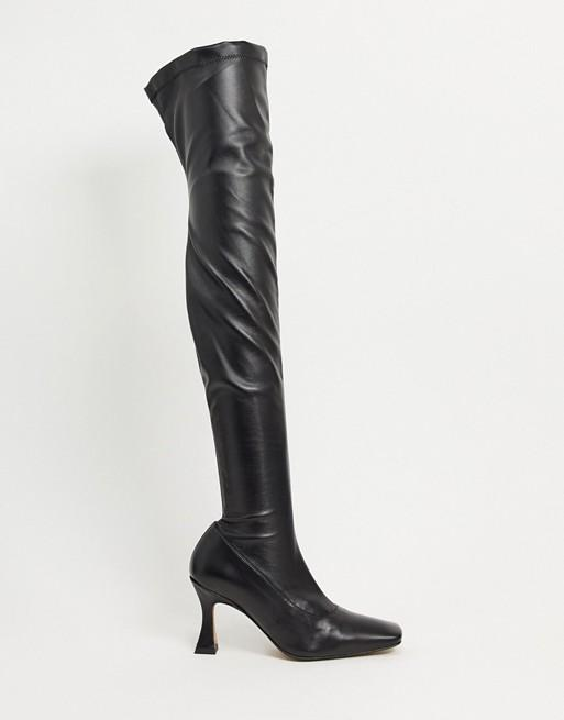 ASOS DESIGN Keisha Premium Stretch Over-The-Knee Boots with Novel Heel
