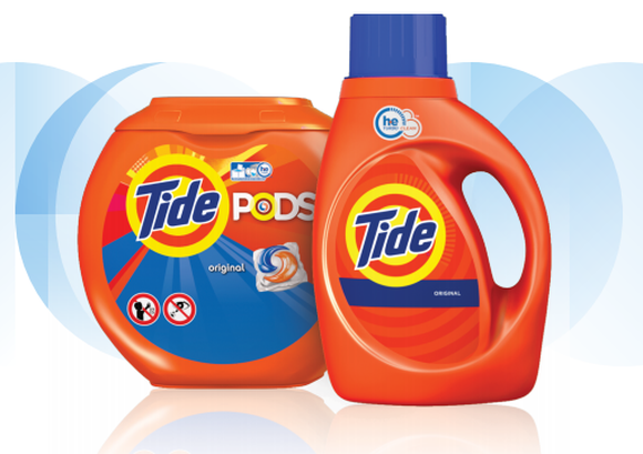 Tide liquid detergent and Pods.