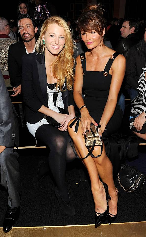 Inside the soiree, fashion plate Blake Lively posed with model Helena Christensen as they waited for the big fashion show to get started. (11/8/2011)