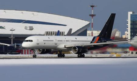 A Britain's Titan Airways Boeing 757 aircraft is seen at Vnukovo airport in Moscow