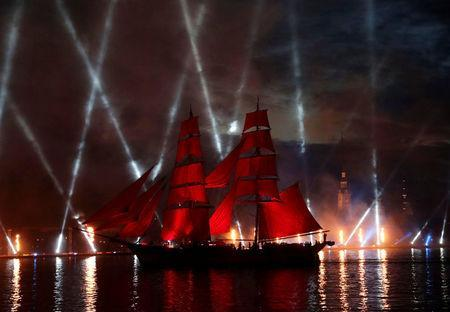 Sweden's brig Tre Kronor with scarlet sails floats on the Neva River during the Scarlet Sails festivities marking school graduation, in St. Petersburg, Russia, June 24, 2018. REUTERS/Henry Romero