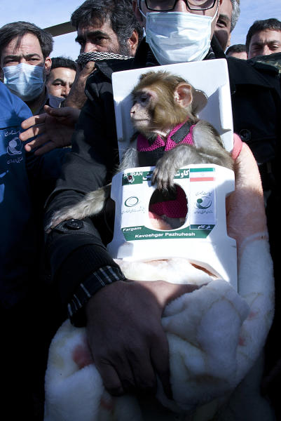In this photo released on Saturday, Dec. 14, 2013 by the Iranian Students New Agency, ISNA, a man carries a monkey named Fargam, or Auspicious, during a mission to send it into space by the rocket dubbed Pajohesh, or Research in Farsi, in an undisclosed location in Iran. Iran said Saturday it has successfully sent the monkey into space for a second time, part of an ambitious program aimed at manned space flight. Iran's state TV said that the launch of the rocket was Iran's first use of liquid fuel. It said the monkey was returned to earth safely. (AP Photo/Iranian Students News Agency) EDS NOTE: THE ASSOCIATED PRESS HAS NO WAY OF INDEPENDENTLY VERIFYING THE CONTENT, LOCATION OR DATE OF THIS IMAGE.