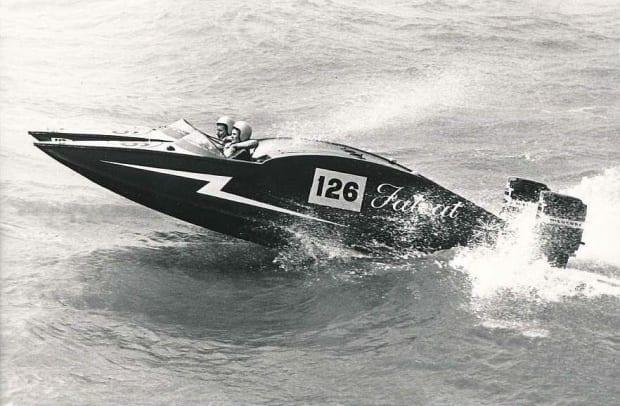 Lady Violet Aitken with powerboat racer and journalist Ray Bulman.