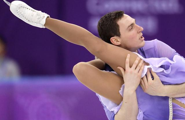 <p>Aljona Savchenko and Bruno Massot of Germany perform in the pairs free skate figure skating final in the Gangneung Ice Arena at the 2018 Winter Olympics in Gangneung, South Korea, Thursday, Feb. 15, 2018. (AP Photo/Bernat Armangue) </p>