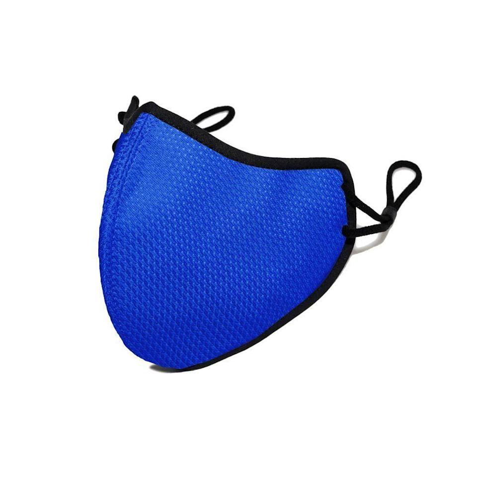 """<p>happymasks.com</p><p><strong>$24.00</strong></p><p><a href=""""https://go.redirectingat.com?id=74968X1596630&url=https%3A%2F%2Fwww.happymasks.com%2Fcollections%2Fpro%2Fproducts%2Fbright-blue&sref=https%3A%2F%2Fwww.prevention.com%2Ffitness%2Fworkout-clothes-gear%2Fg35586004%2Fbest-face-masks-for-working-out%2F"""" rel=""""nofollow noopener"""" target=""""_blank"""" data-ylk=""""slk:Shop Now"""" class=""""link rapid-noclick-resp"""">Shop Now</a></p><p>Happy Masks include five layers of protection, but reviewers rave that the filtration doesn't compromise breathability. With sturdy ear straps and a moisture-wicking interior and exterior, these masks are ideal for sweaty workouts—but its real secret weapon is its beak shape, which <strong>simplifies speaking and breathing without compromising the mask's seal</strong>. For gym-goers who need to communicate with others, that's great news.</p>"""