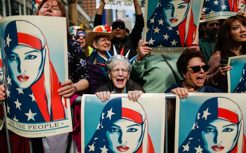 Protests against the travel ban, in February - Credit: Getty